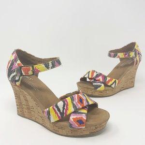 TOMS Multicolor Aztec Open Toe Cork Wedge Sandal 7